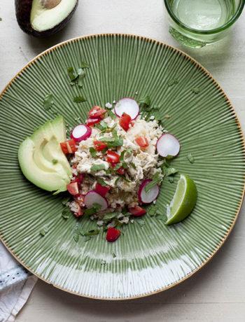 Slow Cooker Chicken Chile Verde over Cauliflower Rice